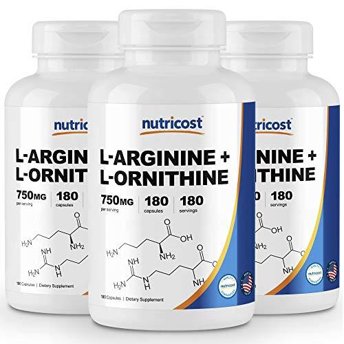 Nutricost L-Arginine L-Ornithine 750mg 180 Capsules 3 Bottles