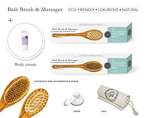 Dry Bath Body Brush & Back Scrubber w/ BONUS Shower Hook, Body Lotion, Travel Bag - Long Handle Reach - Excellent for Skin Exfoliating, Cellulite Treatment & Lymphatic Massage | Cruelty-Free & Vegan