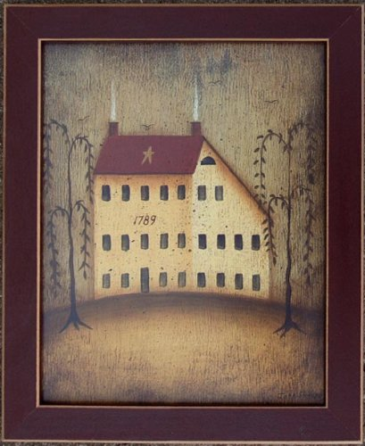 Folk Art House - Salt Box House Folk Art Primitive John Sliney Print
