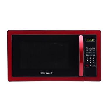 Farberware Classic FMO11AHTBKN 1.1 Cubic Foot 1000-Watt Microwave Oven, Metallic Red
