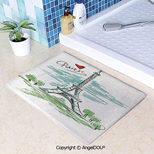 SCOXIXI Living Room Bedroom Carpet Thicken Non-Slip Mat Touristic Colorful Sketch of Eiffel Tower in Paris French Style Travel Illustration for Home Hotel Cafe Restaurant Area Rug W23.6xL35.4(inch)