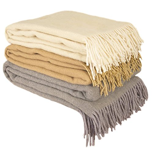 100% Merino Wool Throw Blanket with fringe 51