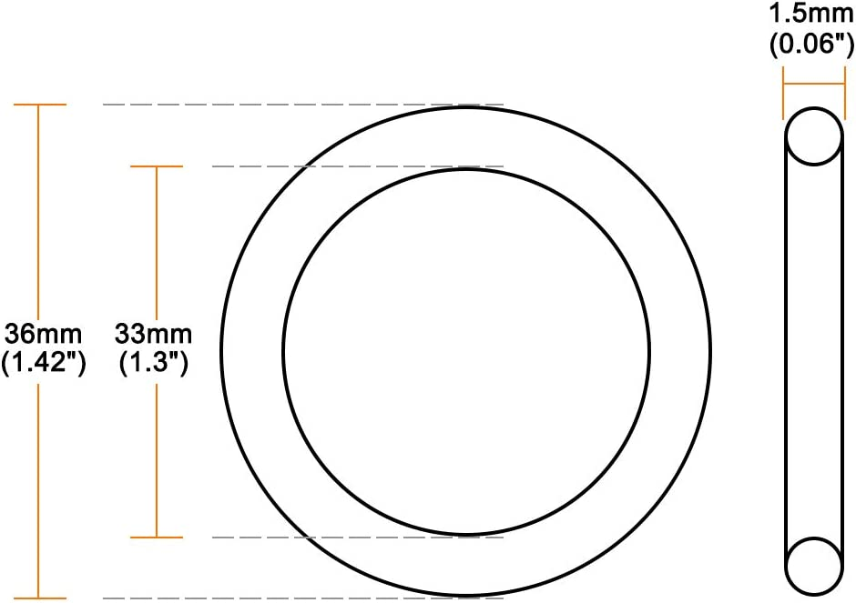 sourcing map O-Rings Nitrile Rubber 23mm Inner Diameter 26mm OD 1.5mm Width Round Seal Gasket 50 Pcs
