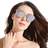 CHB Women's HD Mirrored Cateye Lens Creative Metal Frame Street Fashion Designer Polarized Sunglasses UV400 with Case