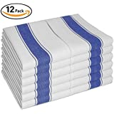 """Vintage Kitchen Dish Towels with Loop, Set of 12 Large Tea Towels 100% Cotton 28""""X20"""" - Longer Lasting, Super Absorbent in White with Blue Stripes - Herringbone Design for Faster Drying & Low Lint"""