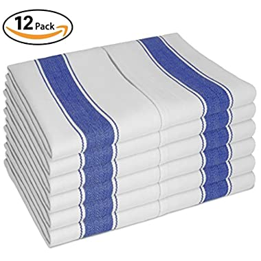 Vintage Kitchen Dish Towels with Loop, Set of 12 Large Tea Towels 100% Cotton 28 X20  - Longer Lasting, Super Absorbent in White with Blue Stripes - Herringbone Design for Faster Drying & Low Lint