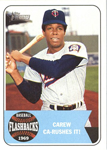 2018 Topps Heritage Baseball Flashbacks #BF-RC Rod Carew Minnesota Twins Baseball Card Rod Carew Minnesota Twins