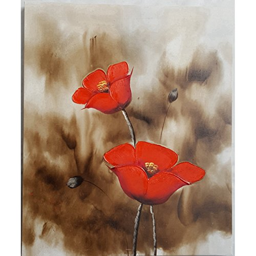 Oil Painting on Canvas - 100% Hand painted Modern Abstract Flowers , Framed for Living Room Bedroom Entrance Mural Wall Decoration (20'' x 24'', Framed) (F03) (L-bow Finish Desk)