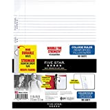 "Five Star Loose Leaf Paper, 3 Hole Punched, Reinforced Filler Paper, College Ruled, 11"" x 8-1/2"", 100 Sheets/Pack, 1 Pack (17010)"