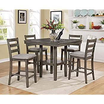 Tahoe 5 Pc Grey Wood Counter Height Table Set By Crown Mark