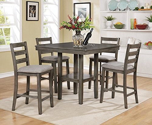 Tahoe 5-Pc Grey Wood Counter Height Table Set by Crown Mark ()