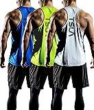 TSLA Men's Dry Fit Y-Back Muscle Workout Tank