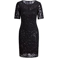Vijiv Vintage 1920s Gatsby Sequin Beaded Lace Cocktail Party Flapper Dress Sleeves