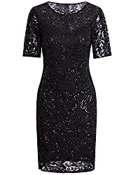 Sequin Beaded Lace Cocktail Sleeves Dress