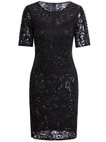 Price comparison product image Vijiv Vintage 1920s Gatsby Sequin Beaded Lace Cocktail Party Flapper Dress With Sleeves,Large,Black