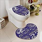 L-QN 2 Piece Shower Toilet mat Retro American Football College Version Illustration Athletic Championship Apparel Blue White Washable Non-Slip