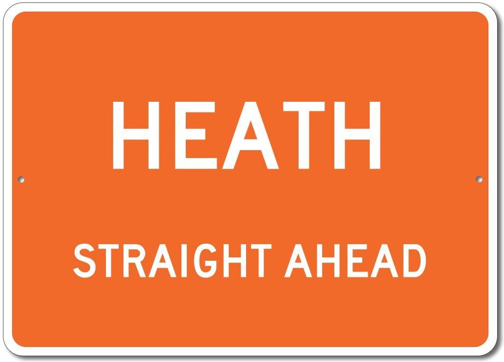 The Lizton Sign Shop Heath, Michigan Straight Ahead Custom Novelty Aluminum Sign - Orange - 12''x18''