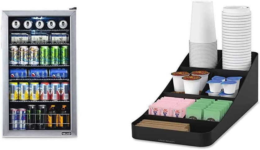 NewAir 126 Can Freestanding Beverage Fridge, Stainless Steel - Limited Edition Design & Mind Reader Trove Coffee Condiment Organizer, One Size, Black