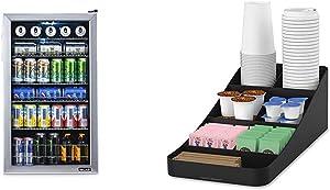 NewAir 126 Can Freestanding Beverage Fridge, Stainless Steel - Limited Edition Design & Mind Reader Trove Coffee Condiment Organizer, One Size, Black