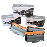 Inknu TN750 (TN-750) 3-Pack Black Toner for Brother - OEM Quality High Capacity Cartridge - Easy Install Design