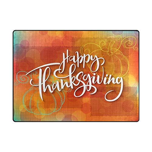 Area Rug Carpet Happy Thanksgiving's Day Pumpkin Soft Non-Slip Runner Mat 4'x6', Indoors/Bedroom/Living/Dining/Kitchen Floor Mats,8mm Pile Height,Rectangular