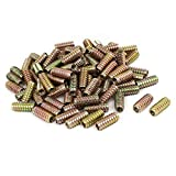 Houseuse Latches Bolts Wooden Furniture Fixing E-Nut Insert Nut Bronze Tone 8mmx30mm 100pcs