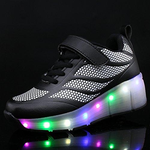 SIKAINI LED Zapatillas Deporte Patín ruedas Luminoso Formadores Niños LED con Un Adulto Rueda Intermitente Zapatos Black-3002