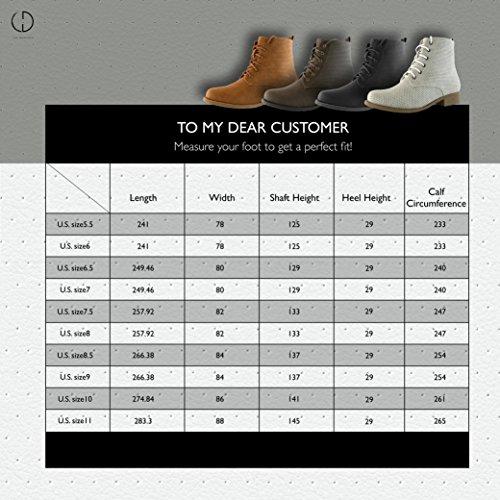 Daily Shoe Mujeres Mujeres Mujeres Con Cordones Tobillo Acolchado Cuello Trabajo Combat Side Cremallera Pocket Ladies Botaies Pu Negro