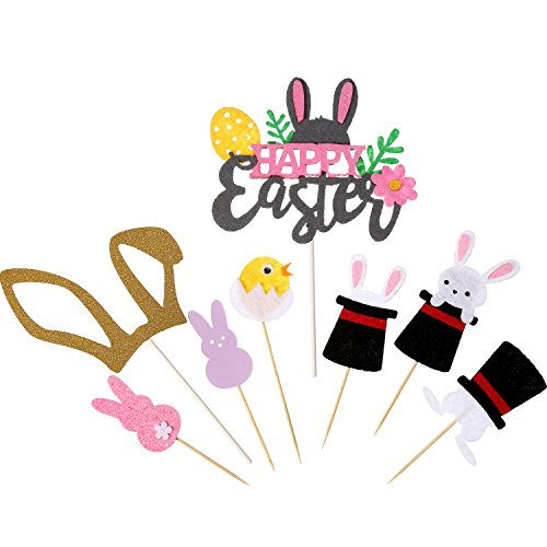 Maxdot 23 Pieces Cupcake Topper Happy Easter Bunny Chick Cake Toppers for Easter Themed Party Decorations