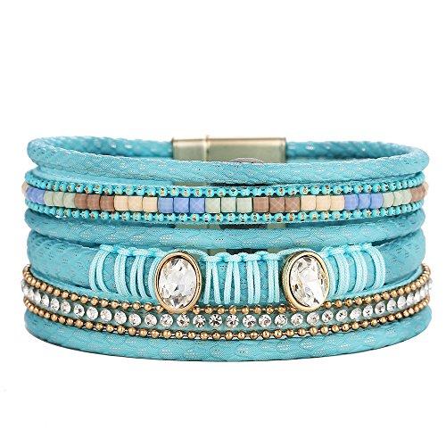 Agelloc Womens Multi-Layer Bracelet Set Ethnic Style Elements Accessories Jewelry Rhinestones Pearl Wrap Bracelet Handmade Braided Rope Wristband (SB)