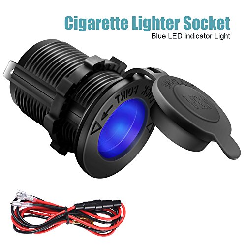 Cigarette Lighter Socket Car Marine Motorcycle ATV RV Lighter Socket Power Outlet Socket Receptacle 12V Waterproof Plug (LED Blue) by ZHSMS