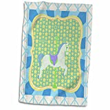 3dRose Beverly Turner Carnival and Fair Design - Carousel Horse in Blue, Green, Yellow, and White, Stars and Stripes - 15x22 Hand Towel (TWL_202249_1)