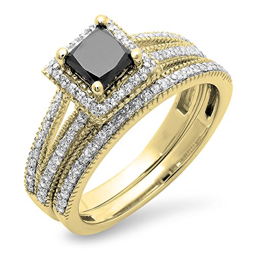 Dazzlingrock Collection 1.35 Carat (ctw) 14K Black & White Diamond Split Shank Halo Engagement Ring Set, Yellow Gold, Size 6.5 ()