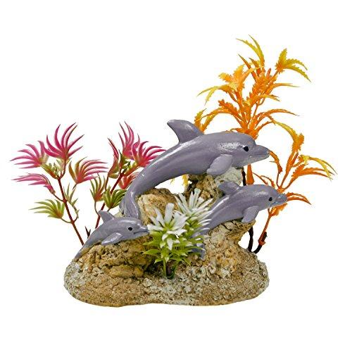 Harmony Ornament (Blue Ribbon Aquatic Scene with Dolphins Exotic Environments Aquarium Ornament)