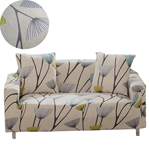 ENZER Stretch Sofa Slipcover Flower Bird Pattern Chari Loveseat Couch Cover Elastic Fabric Kids Pets Protector (2 Seater, Dandelion) - Fabric Two Seater