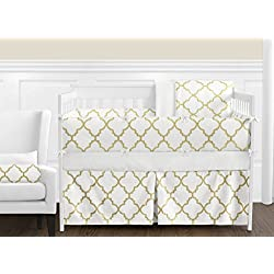 Sweet Jojo Designs Modern White and Gold Trellis Lattice Girls Baby Bedding 9 Piece Crib Set with Bumper