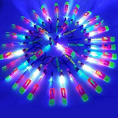 Lowpricenice 24pc Amazing Led Light Arrow Rocket Helicopter Flying Toy Party Fun Gift Elastic: Toys & Games