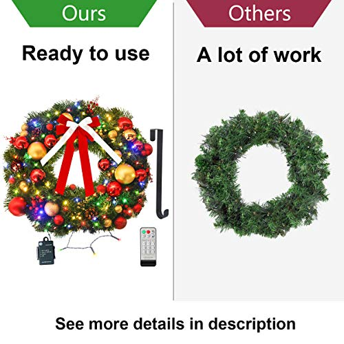 Christmas Wreath with Remote LED String Lights - Prelit Xmas Door Wreath - Artificial Pine Garland - Battery Operated Lights with Timer - Including Wreath Hanger, Ornaments Decorations - 24 Inch