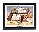 Mexican Desert Mission Spanish Landscape Picture Black Framed Art Print