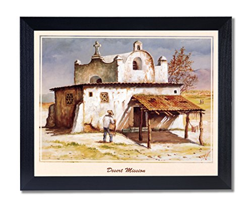 Mexican Desert Mission Spanish Landscape Picture Black Framed Art Print by Art Prints Inc
