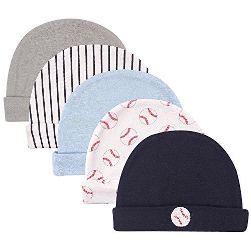 Luvable Friends Baby Caps, 5 Pack, Baseballs, 0-6 Months