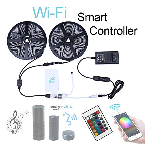 Miheal Wifi Wireless Smart Phone Controlled Led Strip Light Kit with DC12V UL Listed Power Supply Waterproof SMD 5050 32.8Ft(10M) 300leds RGB Music LED Light Strip Work with Android, IOS and (Sound Controlled Lights)