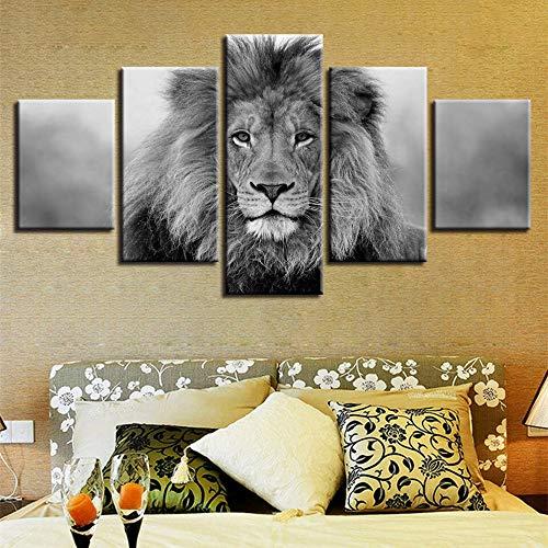 jtxqe lienzos para Pintar Famoso Pintor HD Imprimir en Blanco y Negro Animal Lienzo Cuadro Arte 5 Piezas leon Cartel Decorar Sala de Estar Pared