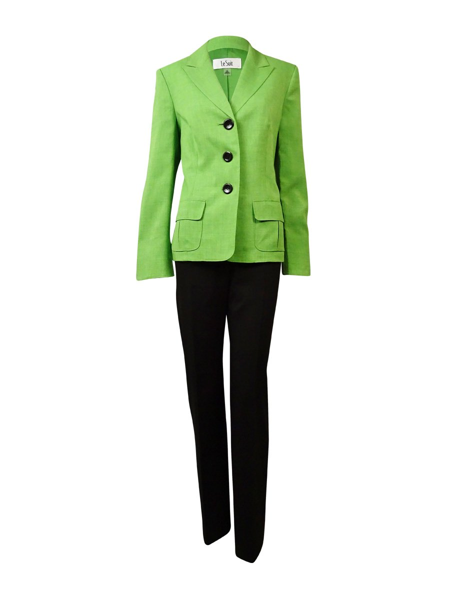 Le Suit Women's 3 Button Collared Jacket and Pant Suit Set, Key Lime/Chocolate, 10