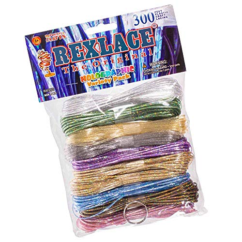 Craft County - Rexlace Variety Pack - 300 Feet Plastic Craft Lacing - Holographic Core Colors -