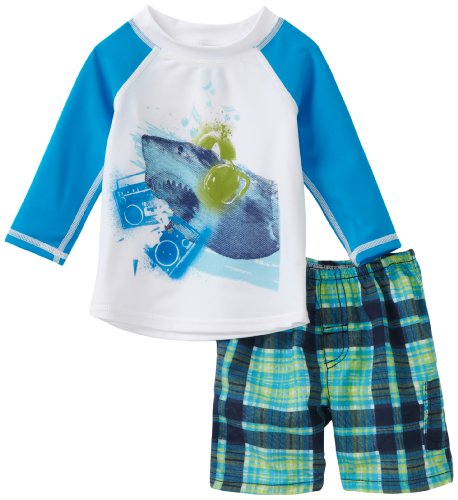 Charlie Rocket Baby Boys' Rash Guard with Ship and Island Plaid Short