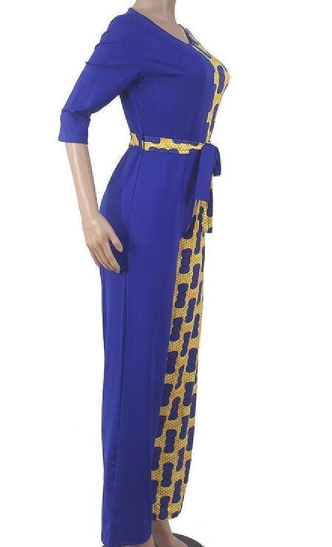 Hajotrawa Women Hoody V Neck Classic Pocket Wide Leg Playsuit Jumpsuits