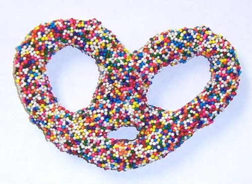 Scott's Cakes Milk Chocolate Covered Pretzels with Bright Rainbow Non-Pareils in a 1 Pound Clear Cello Bag
