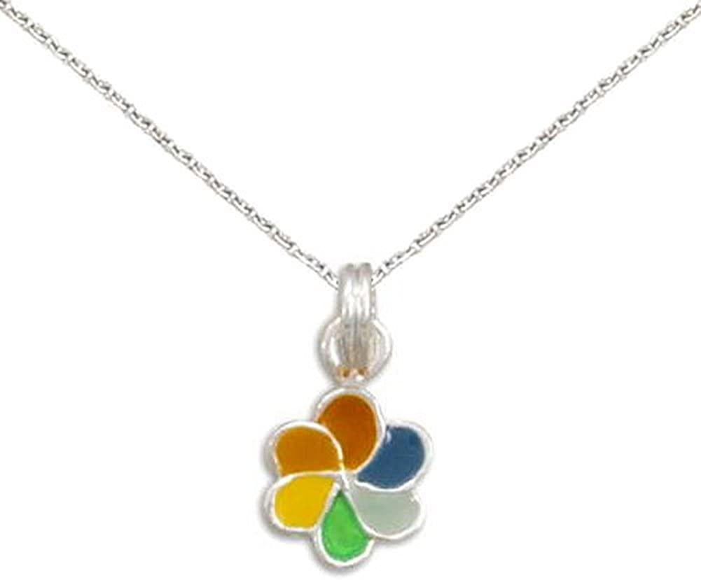 Adjustable Chain Included Rainbow Pinwheel Necklace Sterling Silver