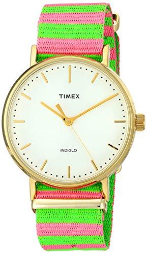 Timex Women's TW2P91800 Fairfield 37 Pink/Green Nylon Slip-Thru Strap Watch